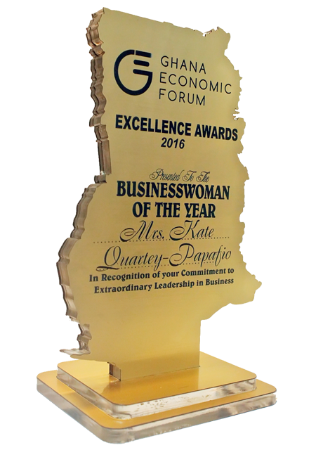 The Ghana Economic Forum (GEF) Excellence Awards event has, in its first-ever honour-roll, named Mrs Kate Quartey-Papafio, CEO of Reroy Group, as the Businesswoman of the Year.